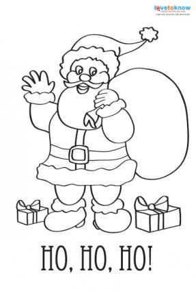 printable coloring Christmas card of Santa