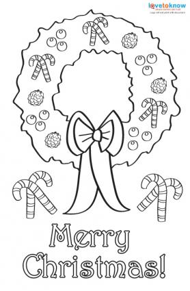 Printable Coloring Christmas Cards 2 wreath