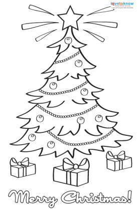 Printable coloring Christmas cards 3 tree