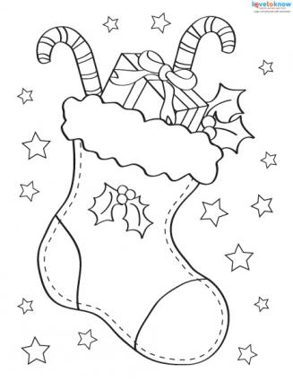 Christmas Pictures to Color 3 stocking
