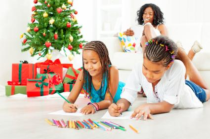 girls coloring at Christmas