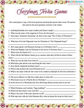 image relating to Printable Trivia Questions for Middle School Students referred to as Xmas Trivia Online games LoveToKnow