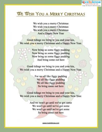 graphic regarding Lyrics to We Wish You a Merry Christmas Printable identified as Printable Xmas Carols LoveToKnow