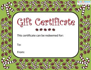 Click To Download The Candy Cane Certificate.  Free Holiday Gift Certificate Templates