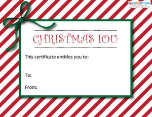 Printable christmas gift certificates lovetoknow printable christmas iou yelopaper Image collections