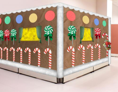 gingerbread cubicle with candy canes - Funny Christmas Cubicle Decorating Ideas
