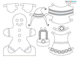 print the gingerbread girl doll to color
