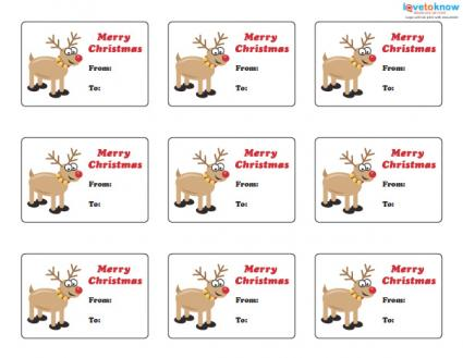 Reindeer printable gift tags