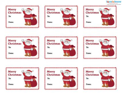 printable santa claus gift tags - Printable Christmas Name Tags