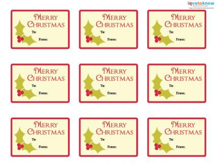 Printable holly gift tags