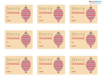 Printable ornament gift tags