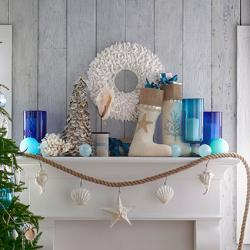 coastal christmas mantel by wisteria - Beach Style Christmas Decorations