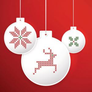 Christmas balls with embroidery cross-stitch style