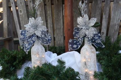 snowy wine bottle lights - Christmas Wine Bottle Decorations