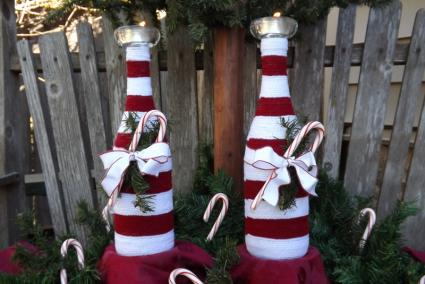 wine bottle candle holders - Christmas Bottle Decorations