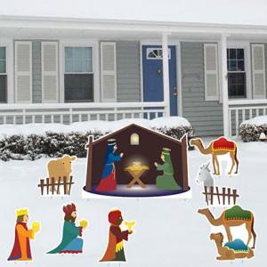 Christmas Nativity Set - 8 Pcs Total with 17 Short Stakes