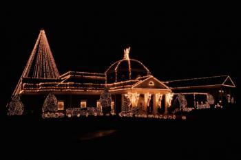Elegant house illuminated with Christmas lights