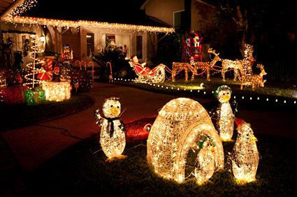 Lighted christmas outdoor decorations lovetoknow lighted christmas yard decorations mozeypictures Images