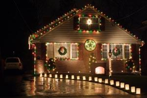 yard decorated for Christmas