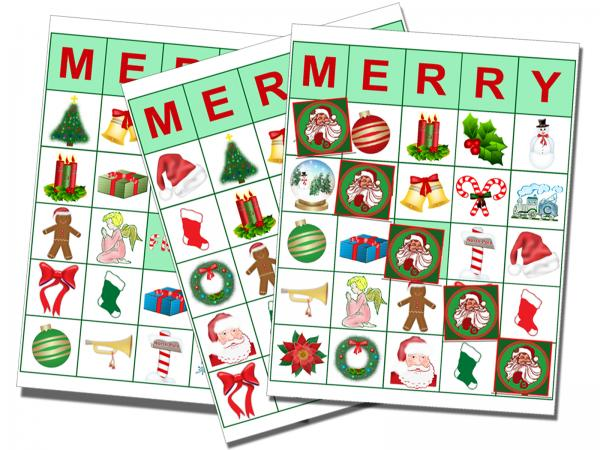 Christmas theme bingo cards