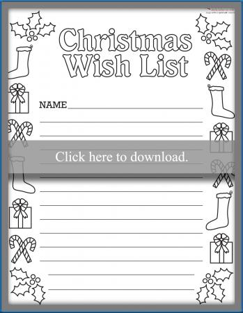 List For Coloring  Kids Christmas List Template