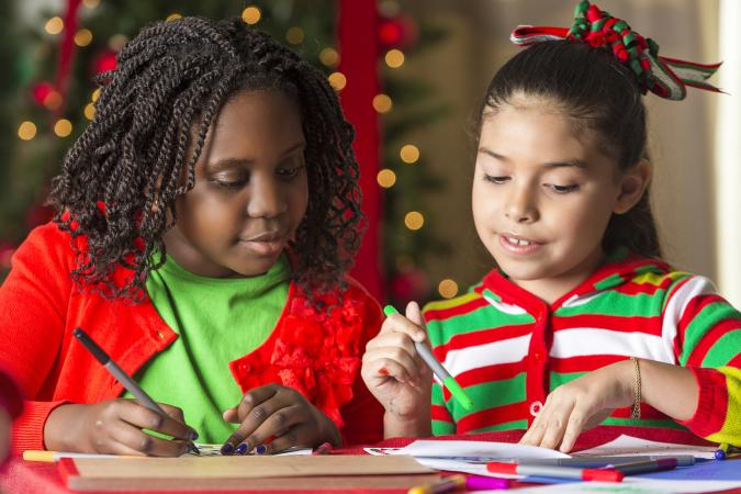 Children coloring at Christmas