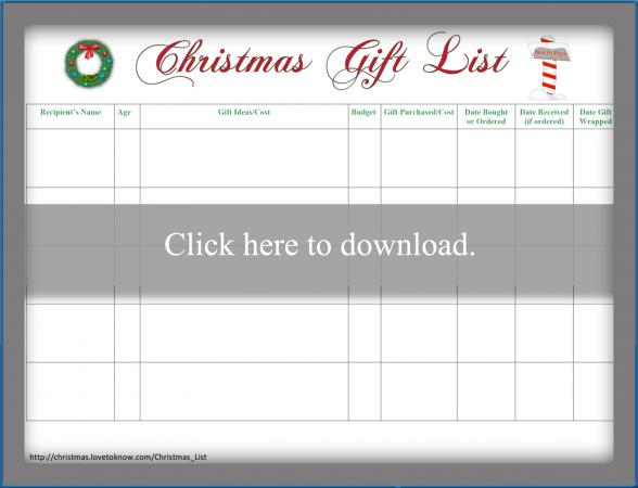 graphic relating to Printable Christmas Shopping List called Xmas Listing LoveToKnow