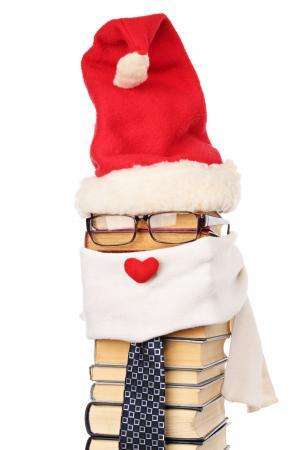 Book stack santa