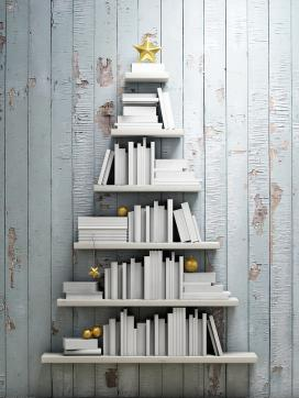 christmas tree bookshelves