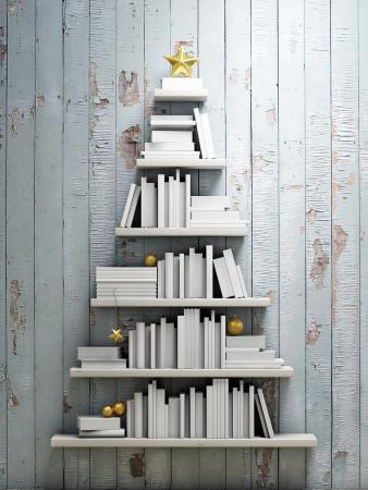 christmas tree bookshelves