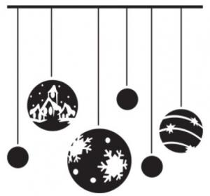 Black Christmas Ornaments Wall Decal