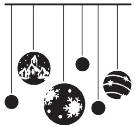 Black Christmas Ornaments Wall Decal