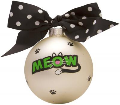 Cat Meow Glass Ball Christmas Ornament