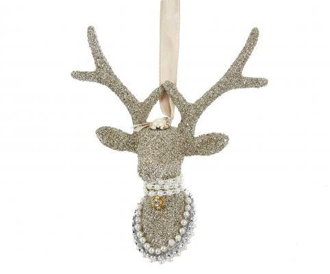 Vintage Glamour Platinum Reindeer Head Ornament