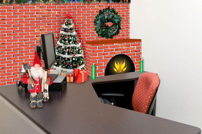 classic christmas hearth decorations - Office Cubicle Christmas Decorations