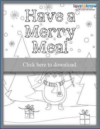 Kids themed Christmas dinner Menu