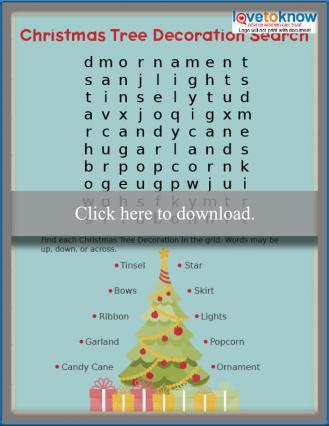 Preschool Christmas word search