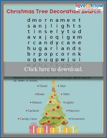 Christmas Tree Decoration Easy Word Search