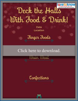 Deck the Halls Dinner Menu