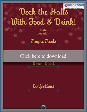 Printable adult party Christmas Menu