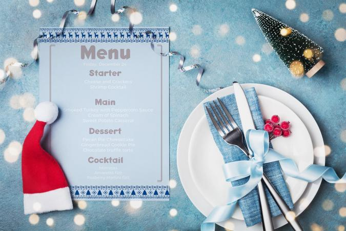 Menu on table served for Christmas dinner