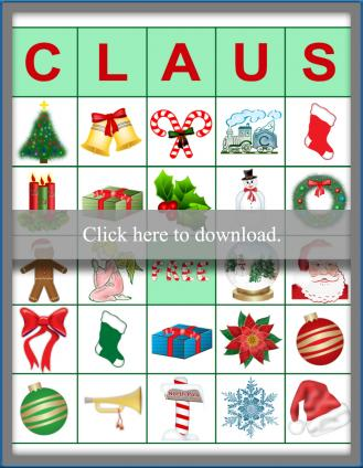 Claus Bingo Game Printable