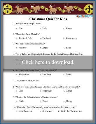Christmas Quiz for Kids