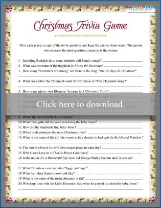 Christmas Trivia Game Printable