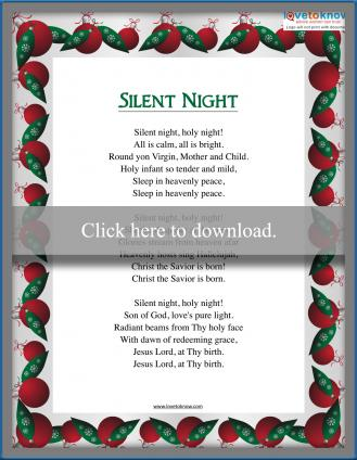 Christmas Carol Silent Night Lyrics