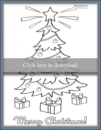 Tree Christmas Coloring Card Printable