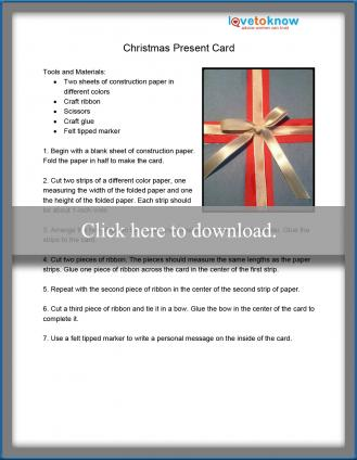 Handmade Present Christmas Card Pattern