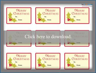 Printable holly Christmas gift tags