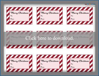 Printable striped Christmas gift tags