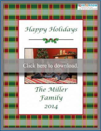 Printable plaid photo Christmas card